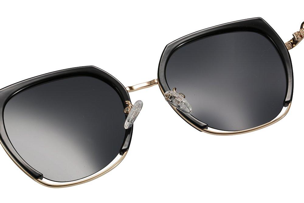 black square sunglasses with gold trim, gold nose bridge. adjustable nose pad