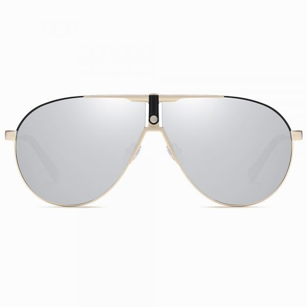 aviator round sunglasses for men, silver lenses trimmed with gold