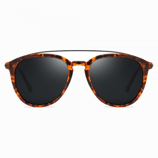 tortoise circular sunglasses with black lenses