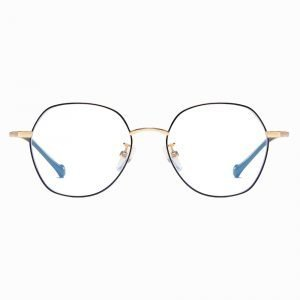 square round black gold eyeglasses