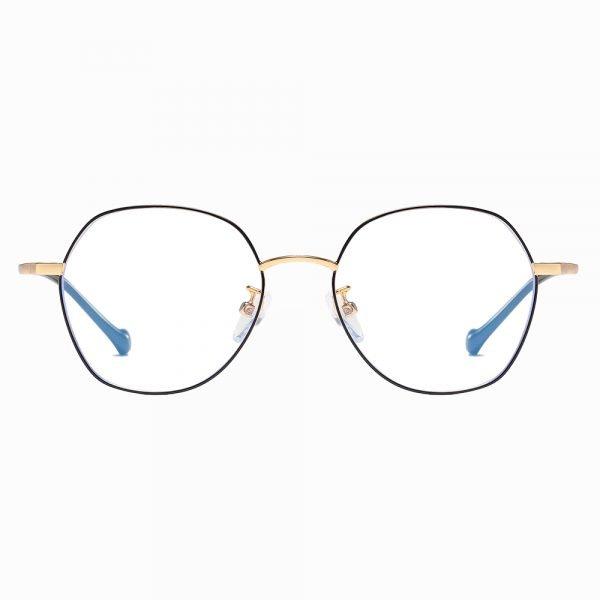 square round black gold eyeglasses