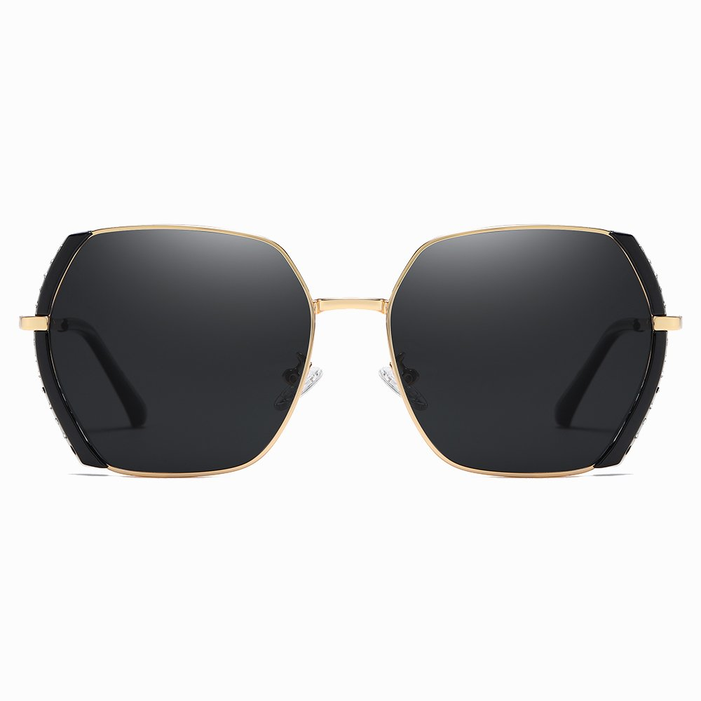 black square sunglasses with gold frame and black side trim