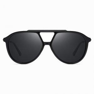 Black Double Bridge Round Sunglasses