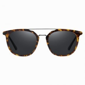 black round sunglasses with tortoise frames and double bridge