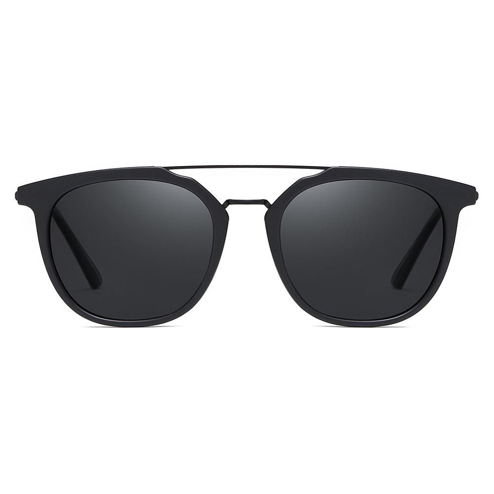 double bridge sungalsses with black tinted round lenses