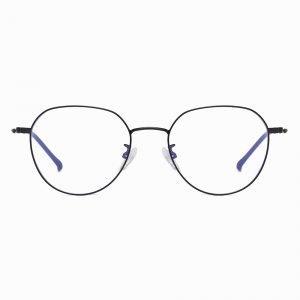 Black Wire Frame Round Eyeglasses for Women