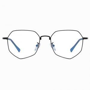 black geometric eyeglasses with blue light blocking lenses