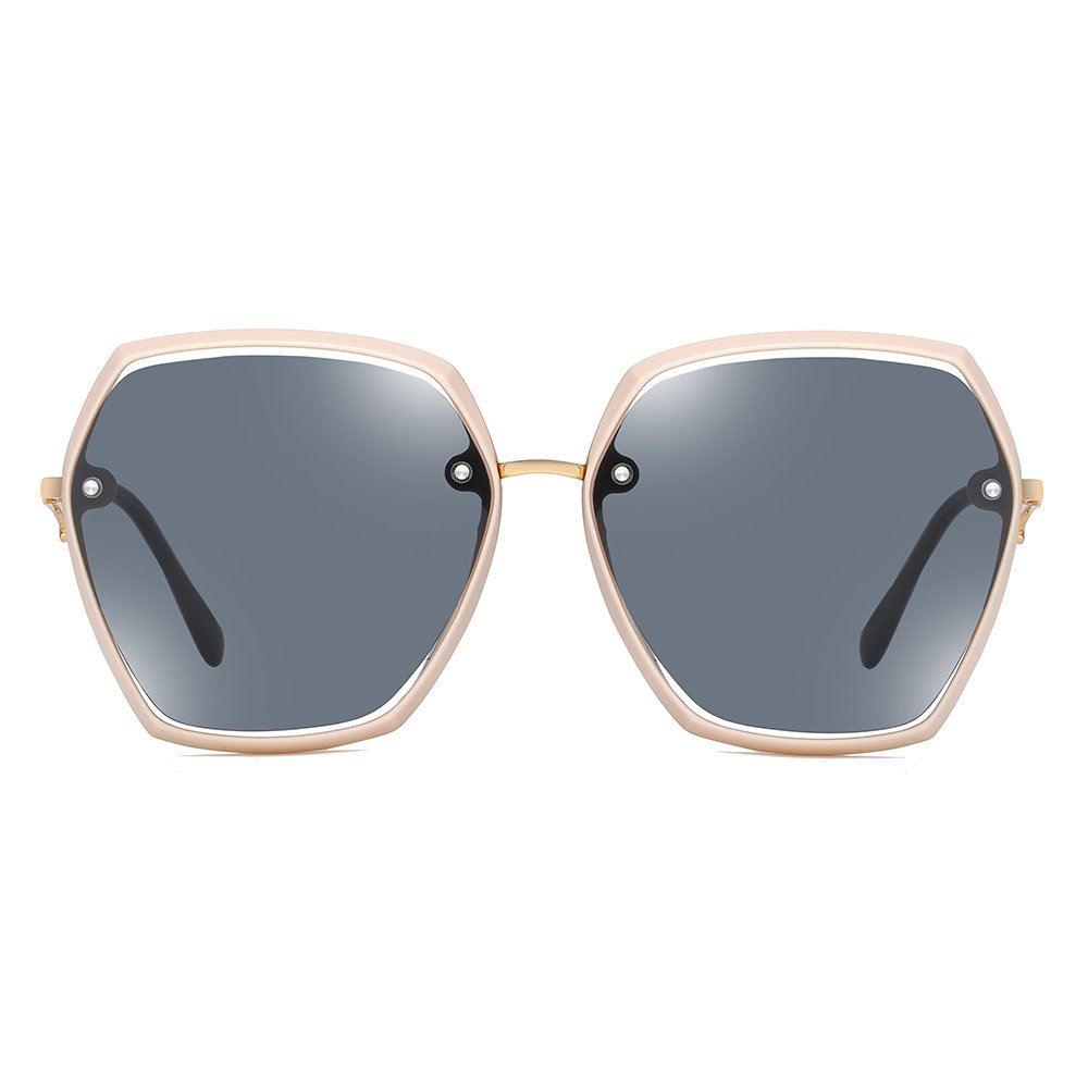 blue tinted lenses with pink frame and gold nose bridge