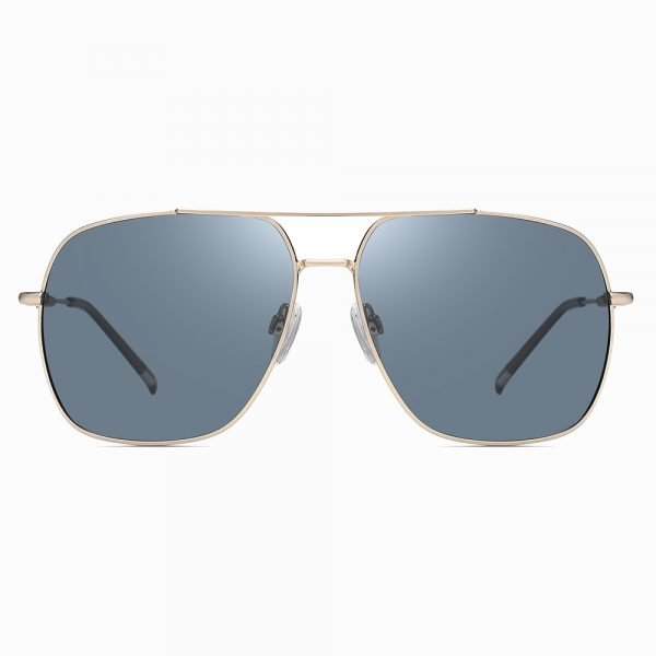 double bridge blue tinted sunglasses, oversized square