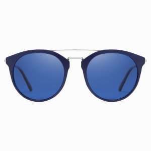 Double Bridge Blue Round Sunshade for Men Women