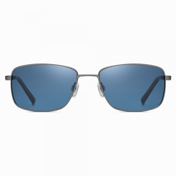 men blue sunglasses with deep gray frame