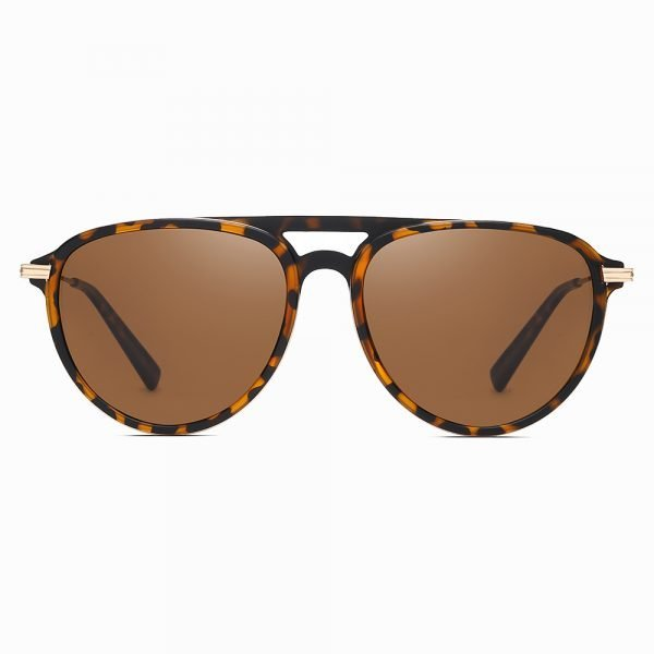 double bridge round sunglasses with brown tinted lenses