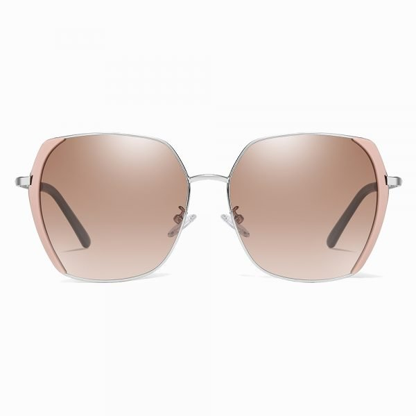tea brown sunglasses for women with pink side trims