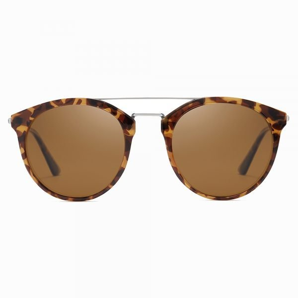 brown tinted round tortoise sunglasses for men with double bridge