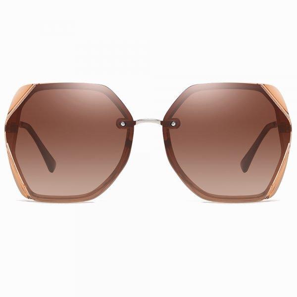 brown geometric sunglasses octagon shape sunshade for women