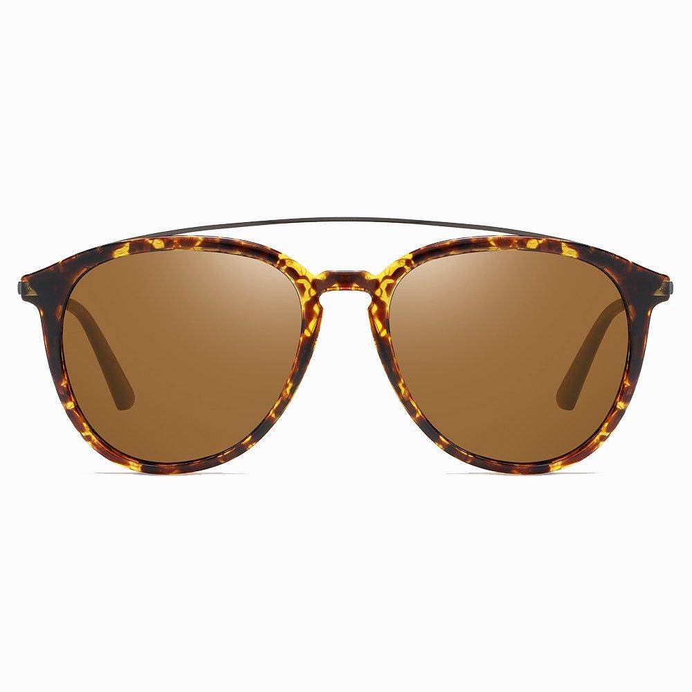 Double Bridge Brown Round Sunglasses for Men