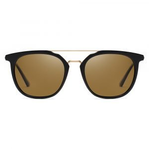 men circular sunglasss with brown tinted lenses and gold double bridge