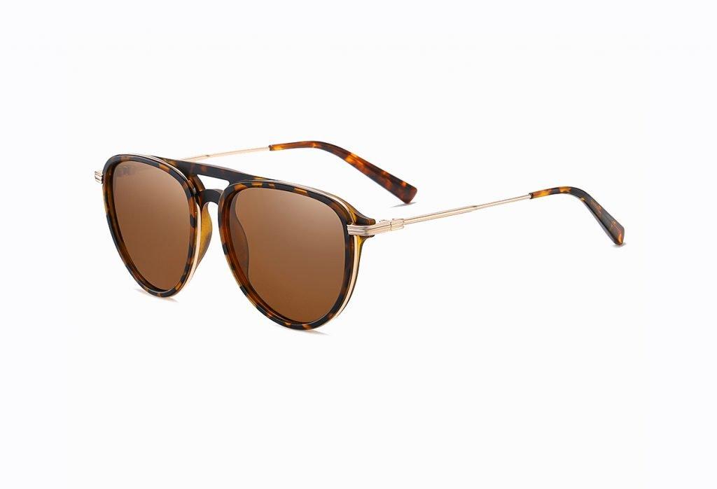 double bridge tortoise sunglasses with brown lenses
