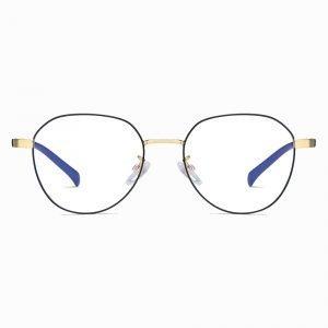 circle eyewear with black frames gold nose bridge