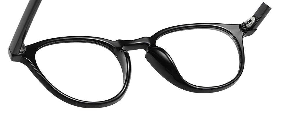 round eyeglasses black frames with onepiece nose pad