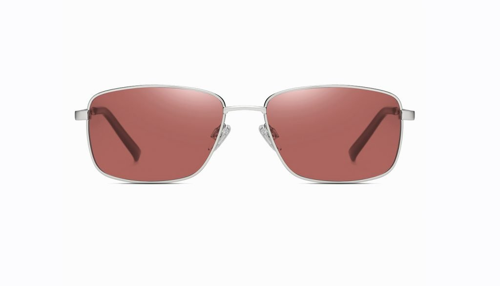 claret red sunglasses with silver frame, rectangle sunnies for men