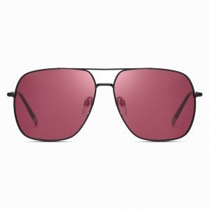 Claret Red Square Double Bridge Sunglasses
