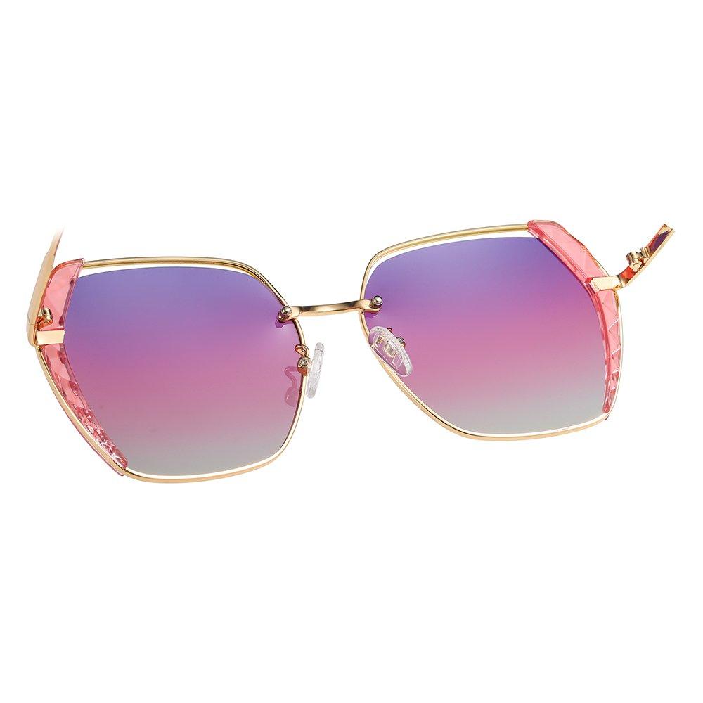 purple gradient sunglasses with gold trim, gold nose bridge