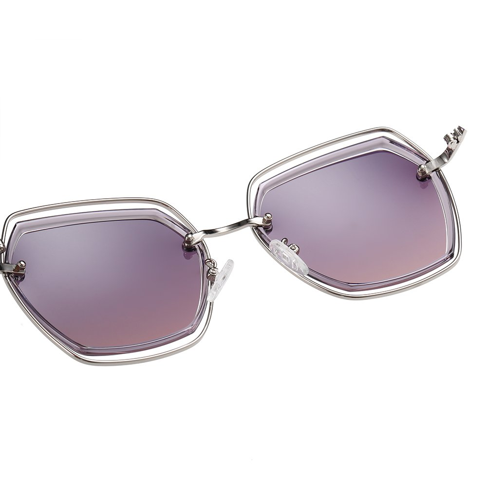 purple square sunglasses with adjustable nose pad