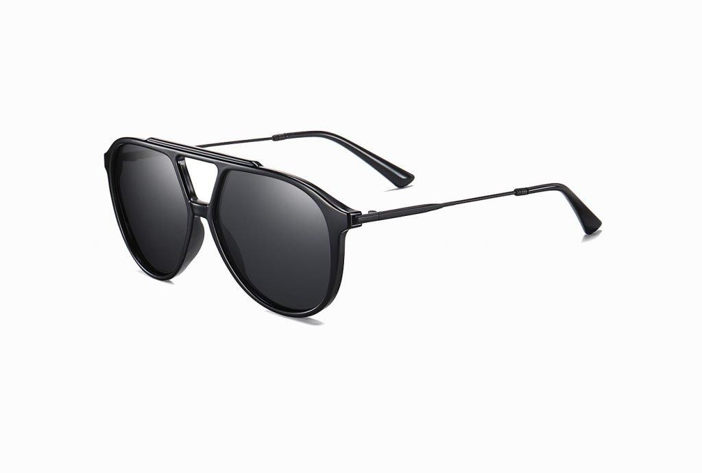 double bridge black sunglasses for men women
