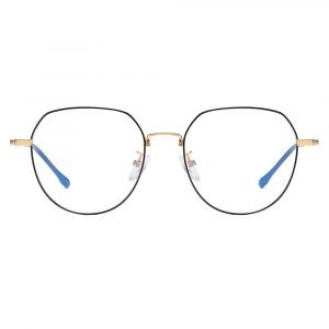 black round eyeglasses with gold nose bridge