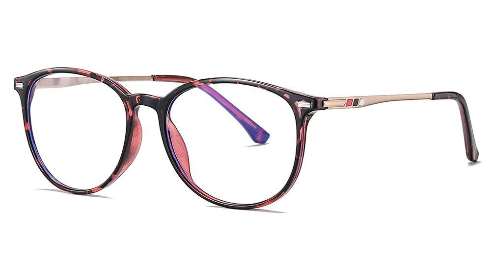 Pink Floral Frame Round Eyeglasses for Women Men