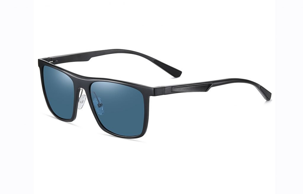 blue rectangle sunglasses with black temple arms