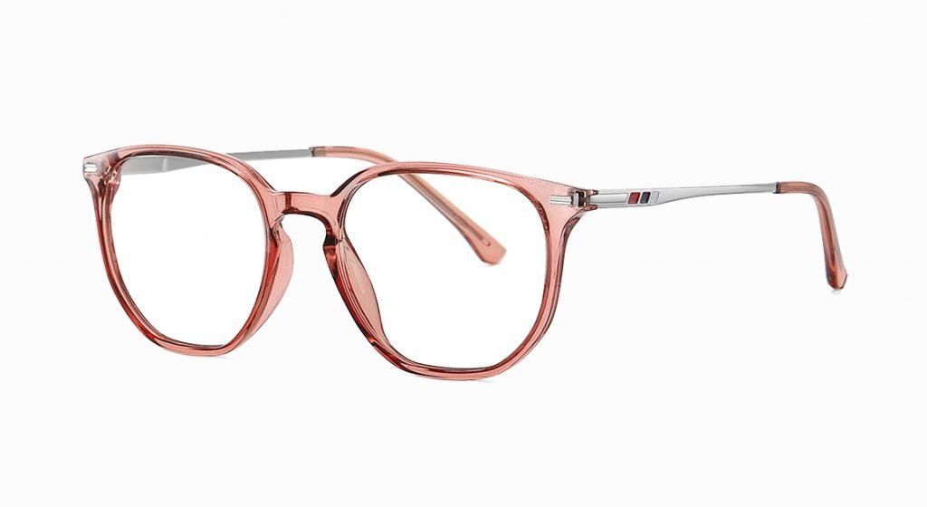 Light brown frames round eyeglasses with silver temple arms