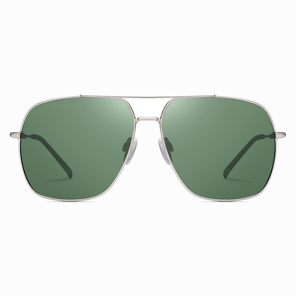 Green Double Bridge Square Sunglasses