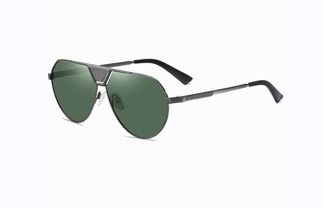 double bridge green sunglasses with black temple arms