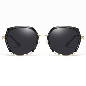 geometric sunglasses with gold nose bridge