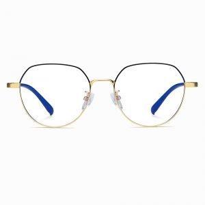 black gold round eyeglasses for women