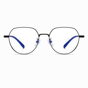 black geometric eyeglasses for women