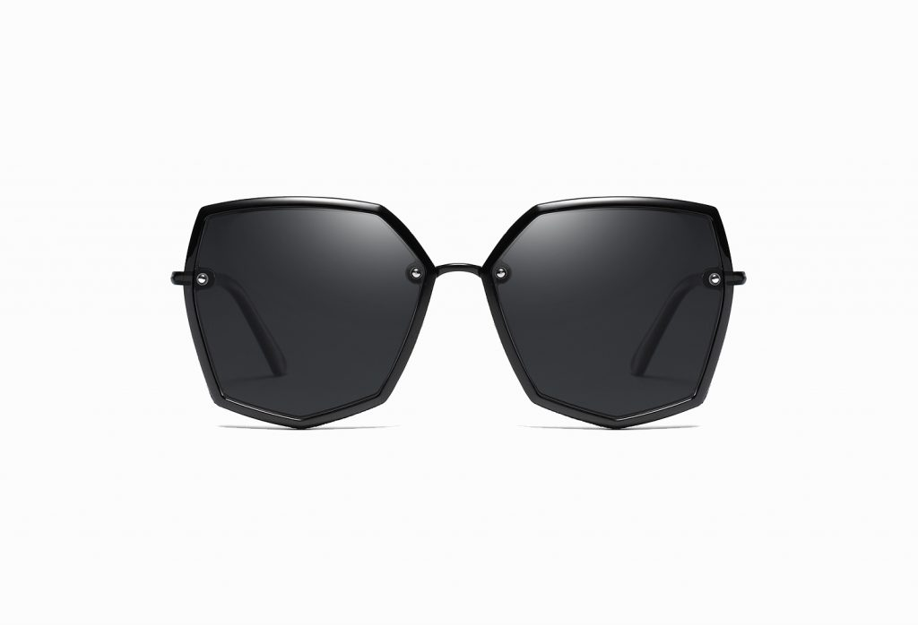 geometric black sunglasses for women