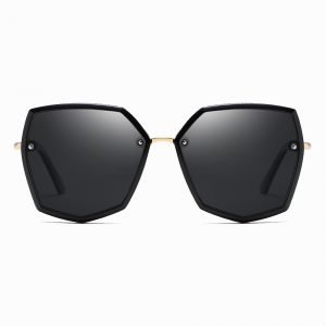 Black Gold Geometric Sunglasses