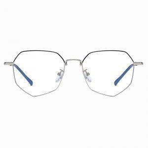 silver geometric eyeglasses for women