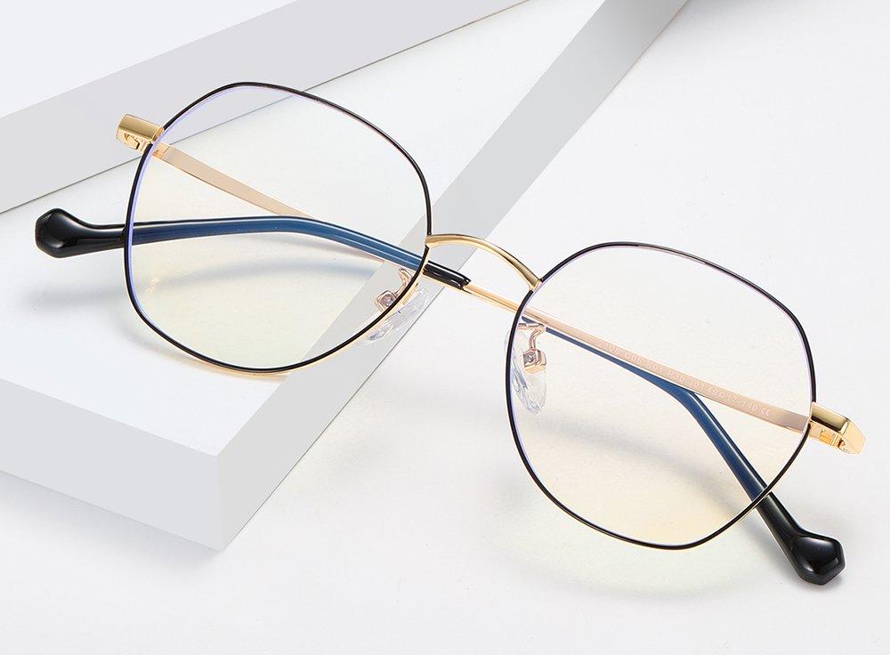 gold frame square eyeglasses