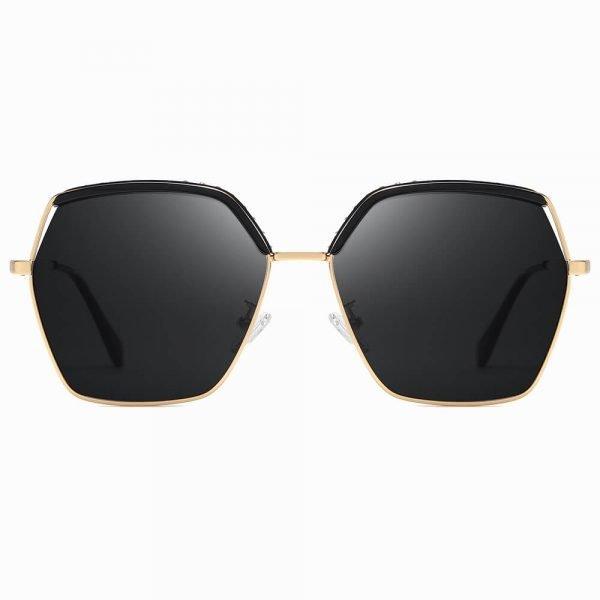 Women Geometric Sunglasses Black Lens Gold Frame