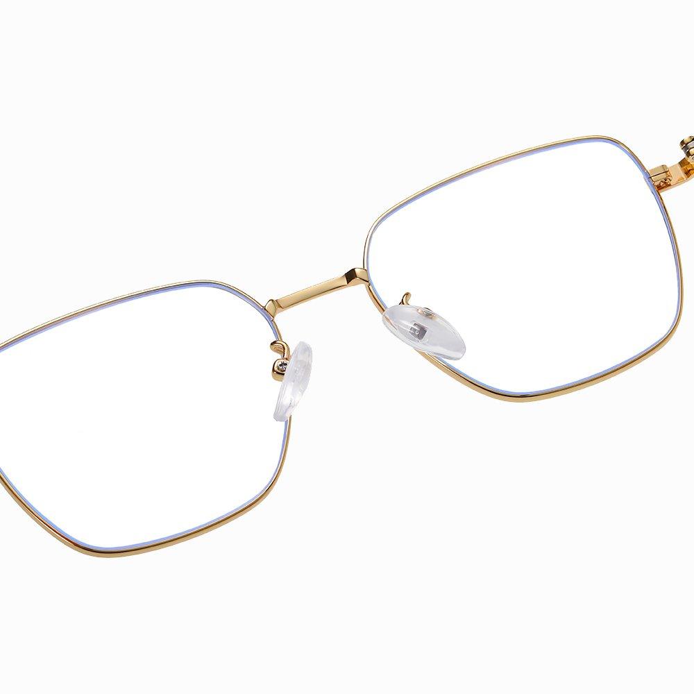 adjustable nose pad, gold frames, rectangle eyeglasses