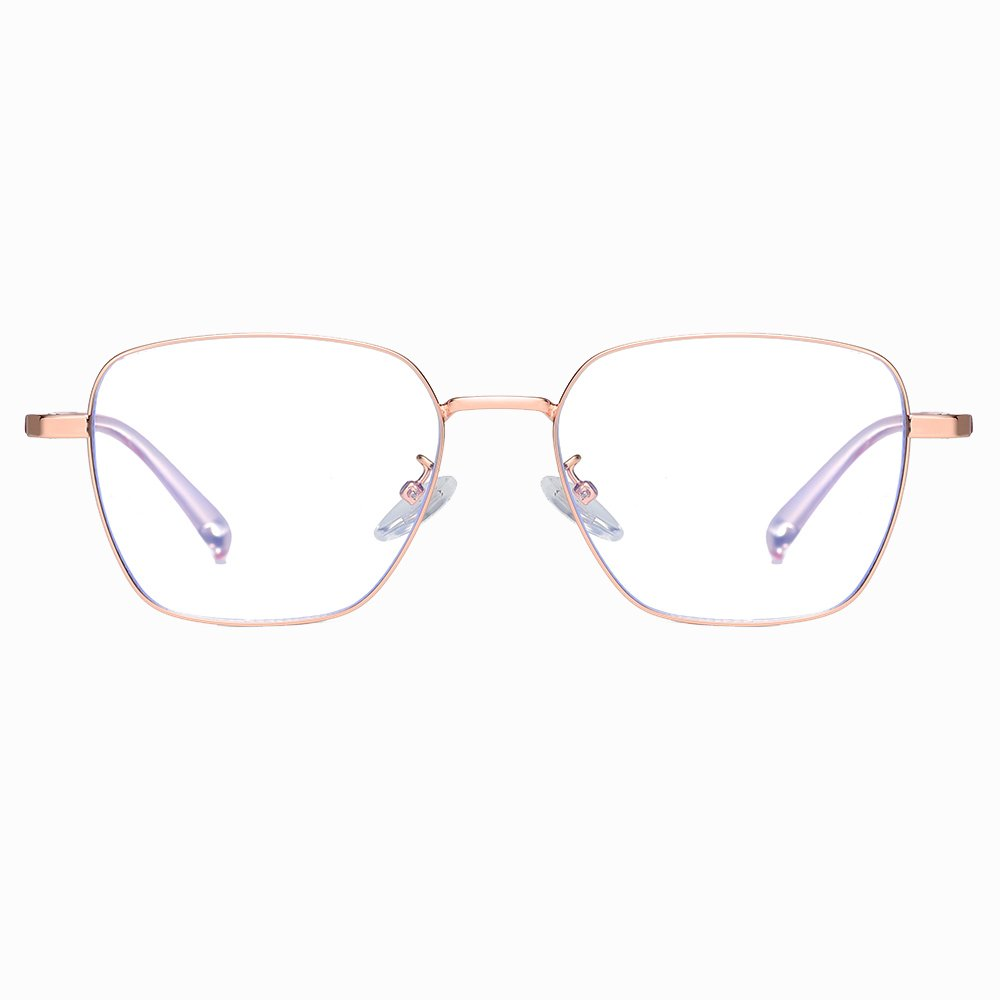 rose gold rectangle eyeglasses for women men