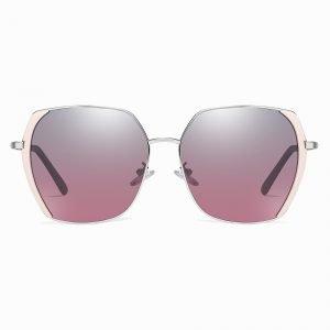 gray purple gradient sunglasses for women, with pink trims, silver nose bridge