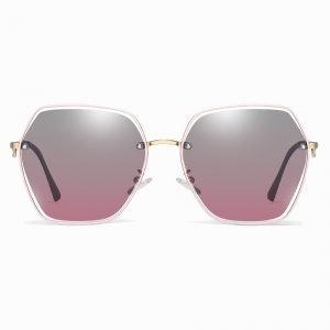 gray purple gradient sunglasses and gold nose bridge