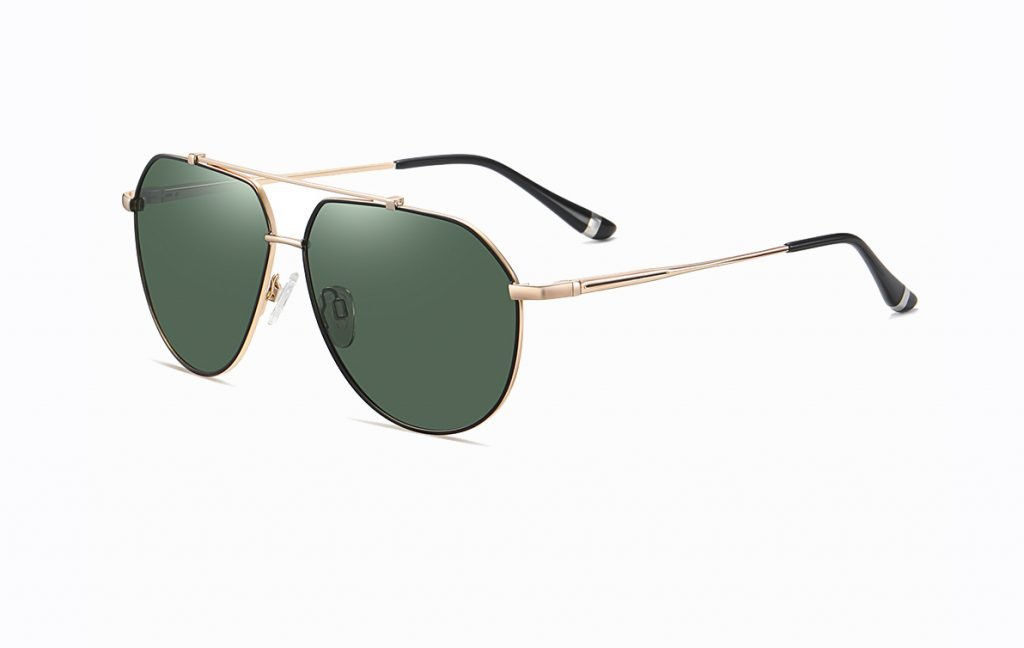 double bridge sunglasses with green G15 lense, gold temple arms and soft ending tips