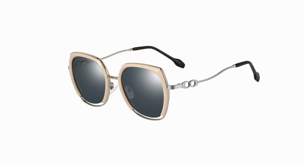 gray square sunglasses with pink trim, silver temple arms with soft ending tips