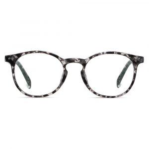 grey tortoise frame round eyeglasses